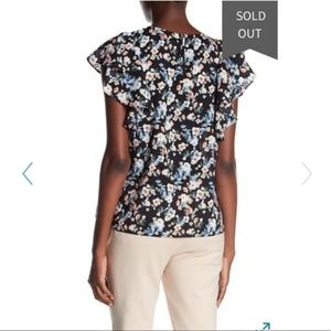 14th & Union Tops - Floral Print Blouse with Ruffles by 14th & Union